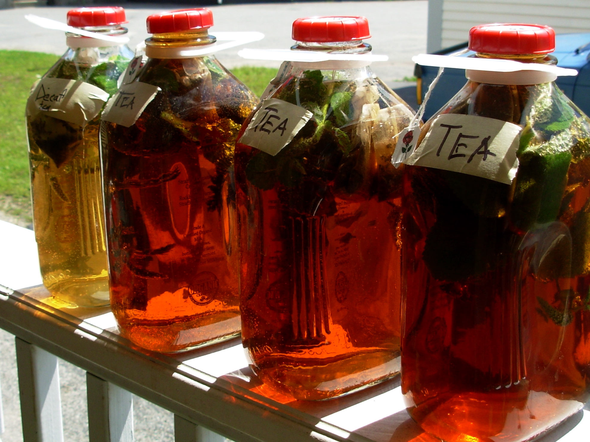 sun tea of jugs of tea sitting out in the sun making power plant sun ...